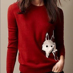 Burberry Brit Fox Detail Wool Cashmere Sweater